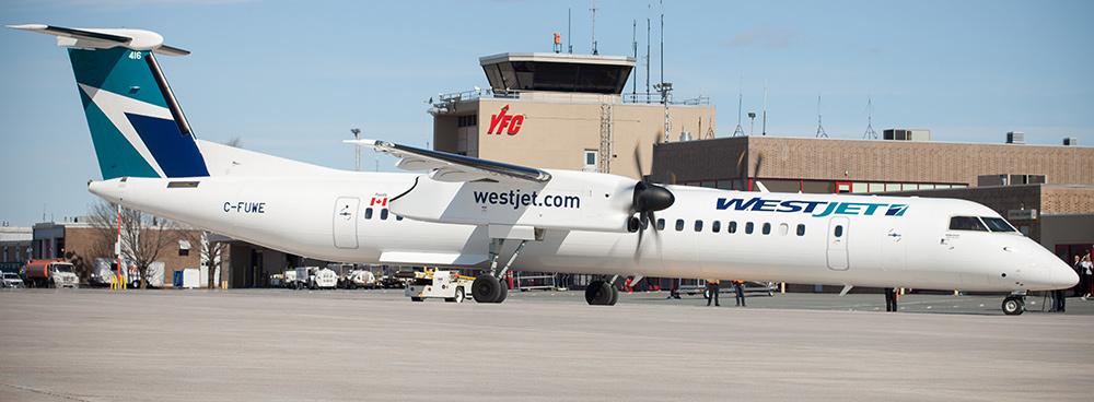 WestJet plane at the Fredericton International Airport