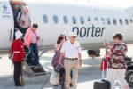 Passengers arrive on the inaugural Porter flight to YFC on September 12, 2017.