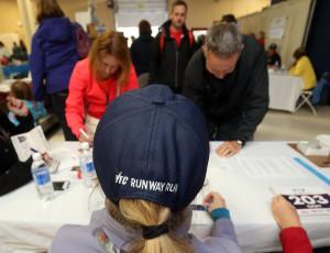 Registration at the inaugural YFC Runway Run